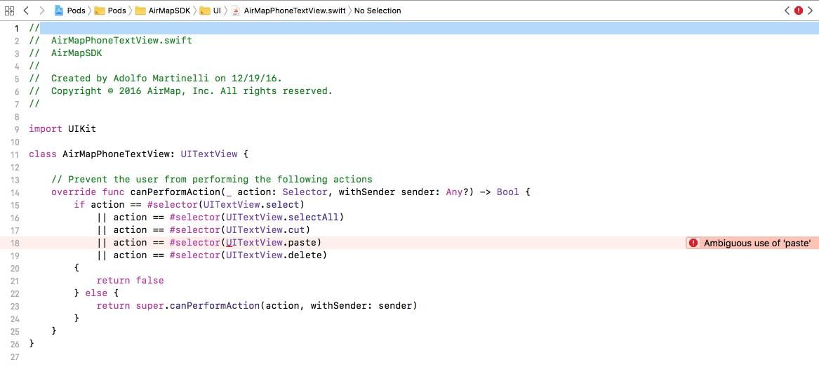 Build error in Xcode 9! · Issue #21 · airmap/AirMapSDK-Swift