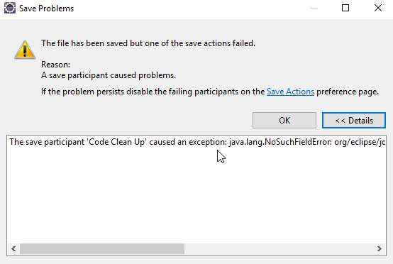 Problems with Eclipse Photon Release (4 8 0) when saving