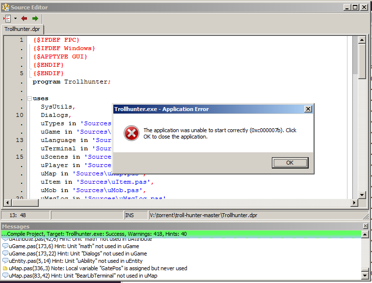 The application was unable to start correctly 0xc000007b · Issue #7