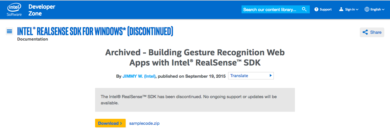 BUG - Intel SR300 - Gesture control? · Issue #1678 · IntelRealSense