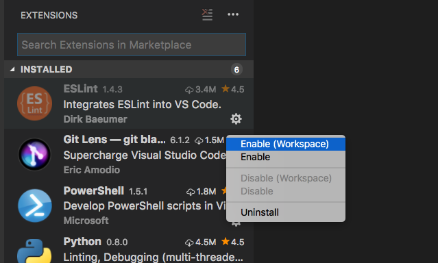 Ability to enable extensions only on specific workspaces · Issue
