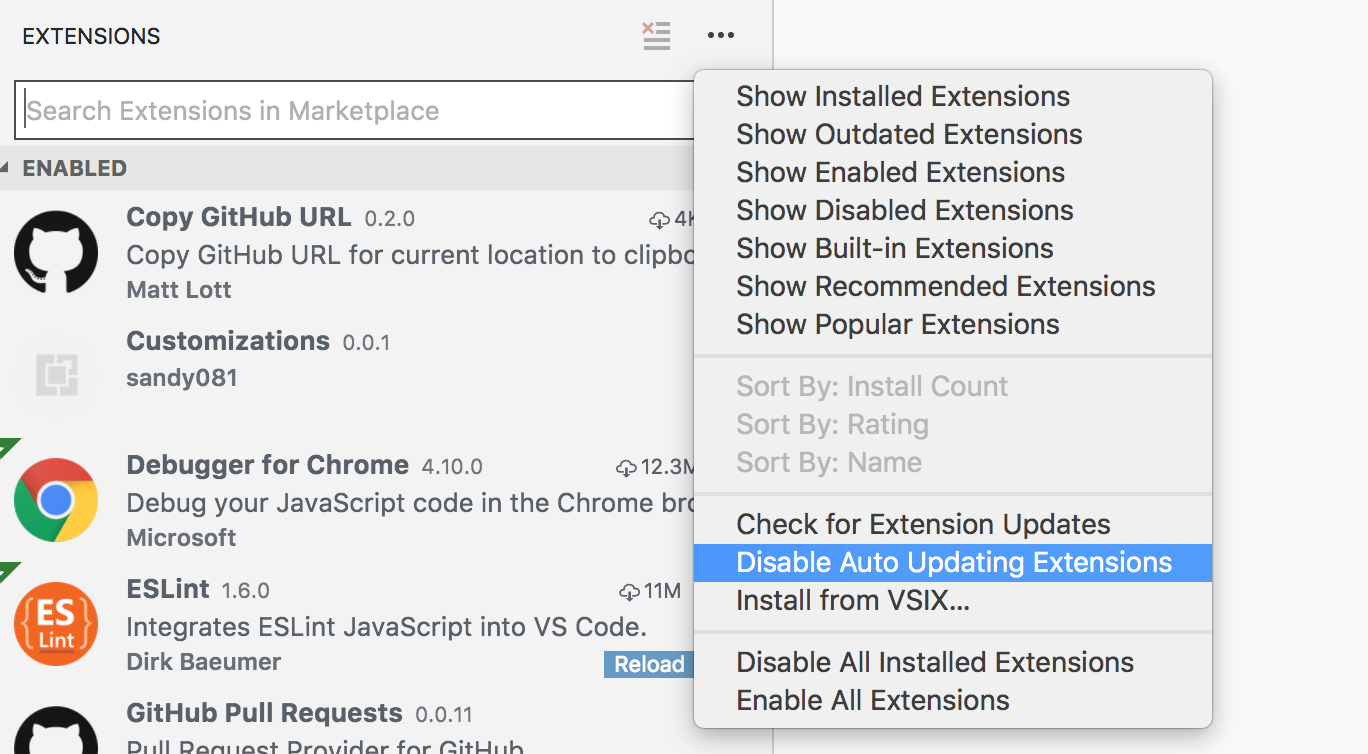 stopping a specific extension from the auto update · Issue