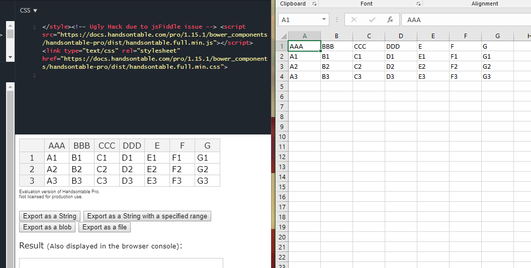 First Column header in CSV export as Blob has double quotes