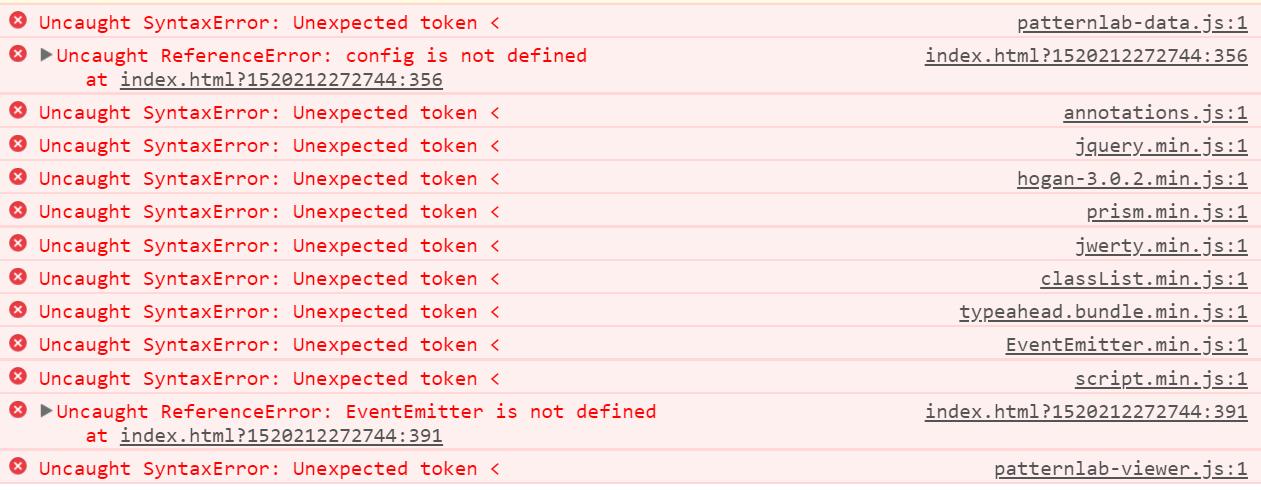 Uncaught SyntaxError: Unexpected token < · Issue #117 · pattern-lab
