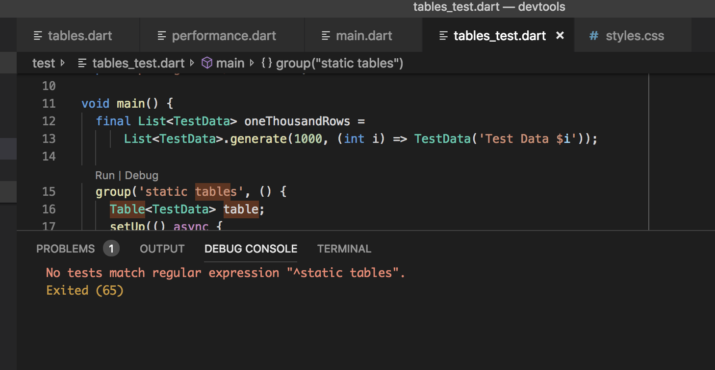 No tests match regular expression