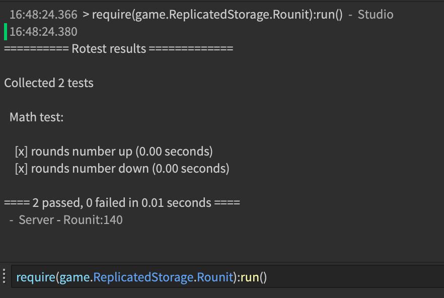 A screenshot of an example run within Roblox Studio.