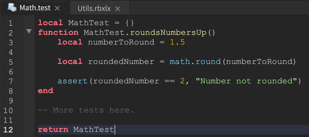 A screenshot of an example test within Roblox Studio.