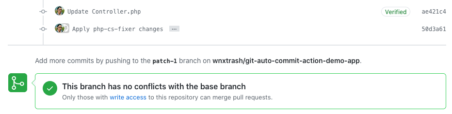 Screenshot of a Pull Request from a Fork