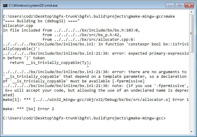 mingw build is broken · Issue #1477 · bkaradzic/bgfx · GitHub