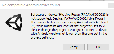 HTC Focus  Unity3d project Updated to v1 10 4 and this error