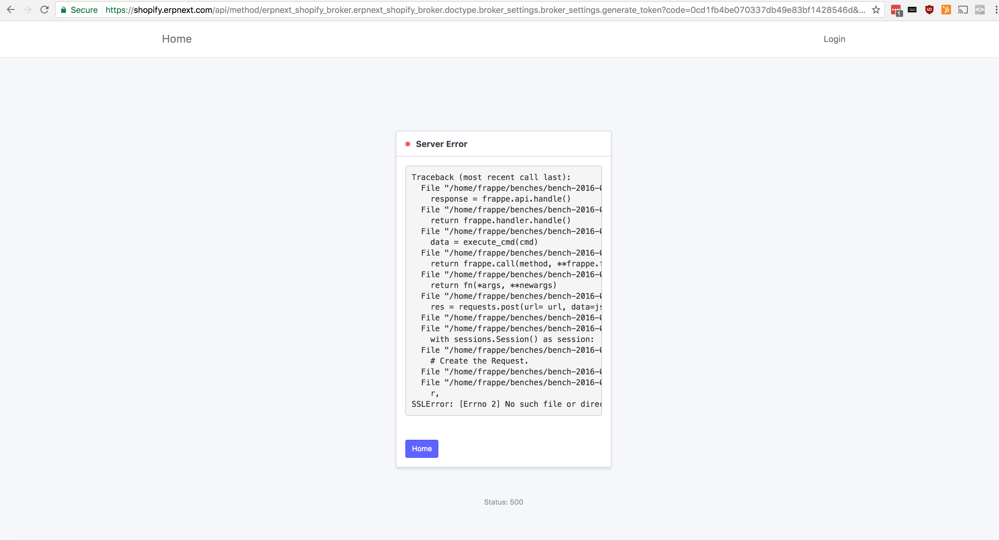 Error 500 - Shopify Install App failing · Issue #160 · frappe