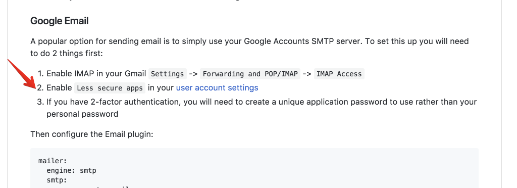 Google SMTP 2FA: google identify Grav as not secure · Issue