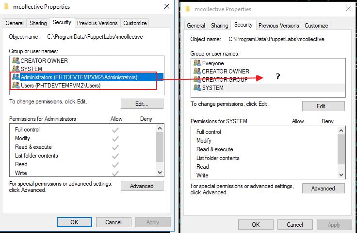 Windows - Could not set 'present' on ensure - Permission