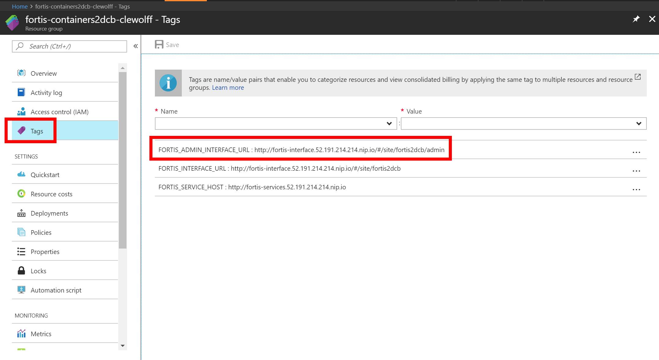 Screenshot of Azure portal with highlight of the Fortis admin site URL accessed via Azure Portal tags