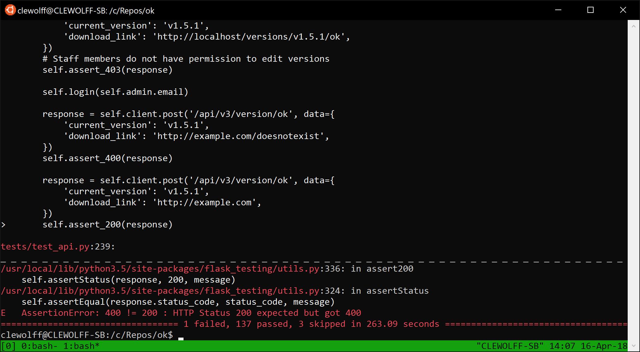 Test error on Docker