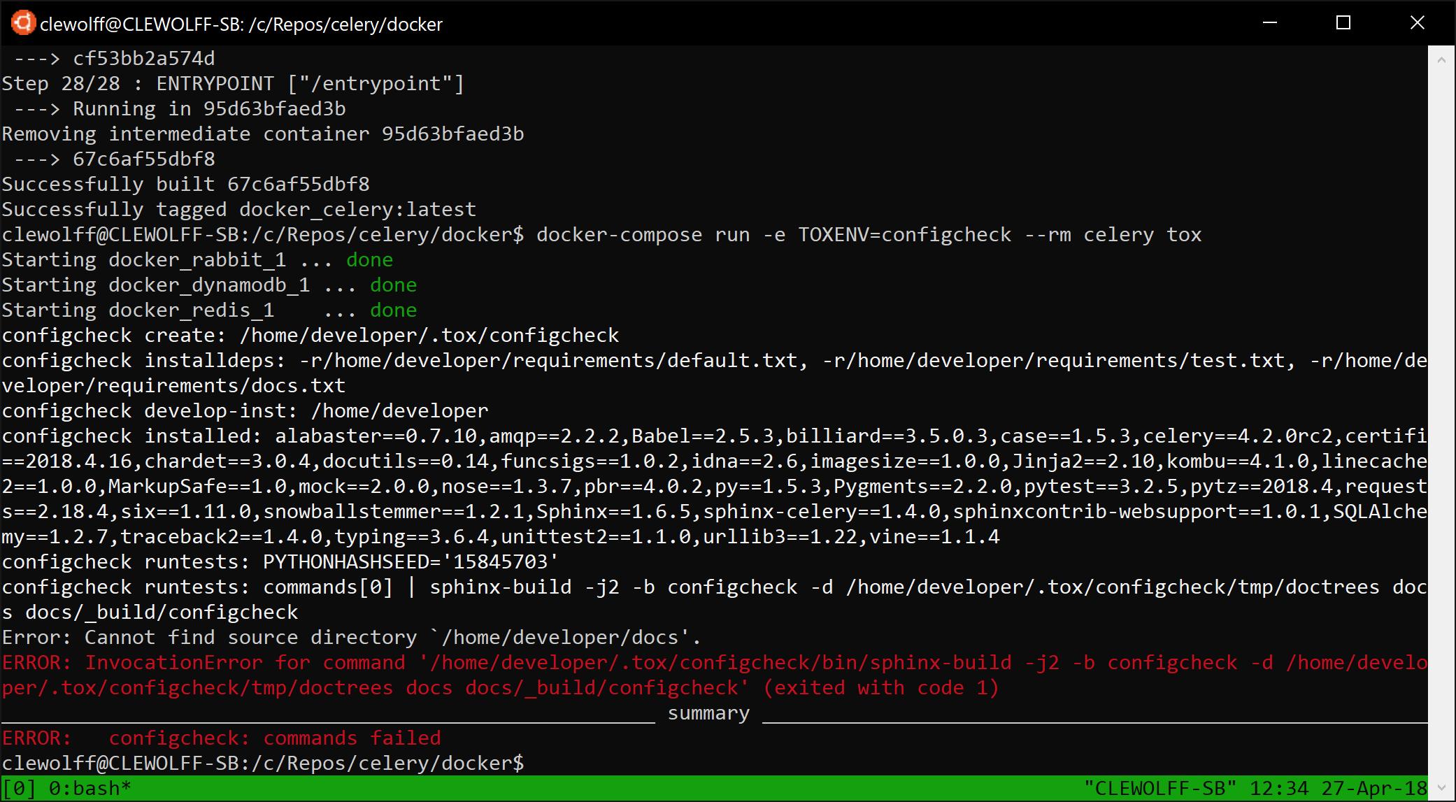 Screenshot of configcheck failure