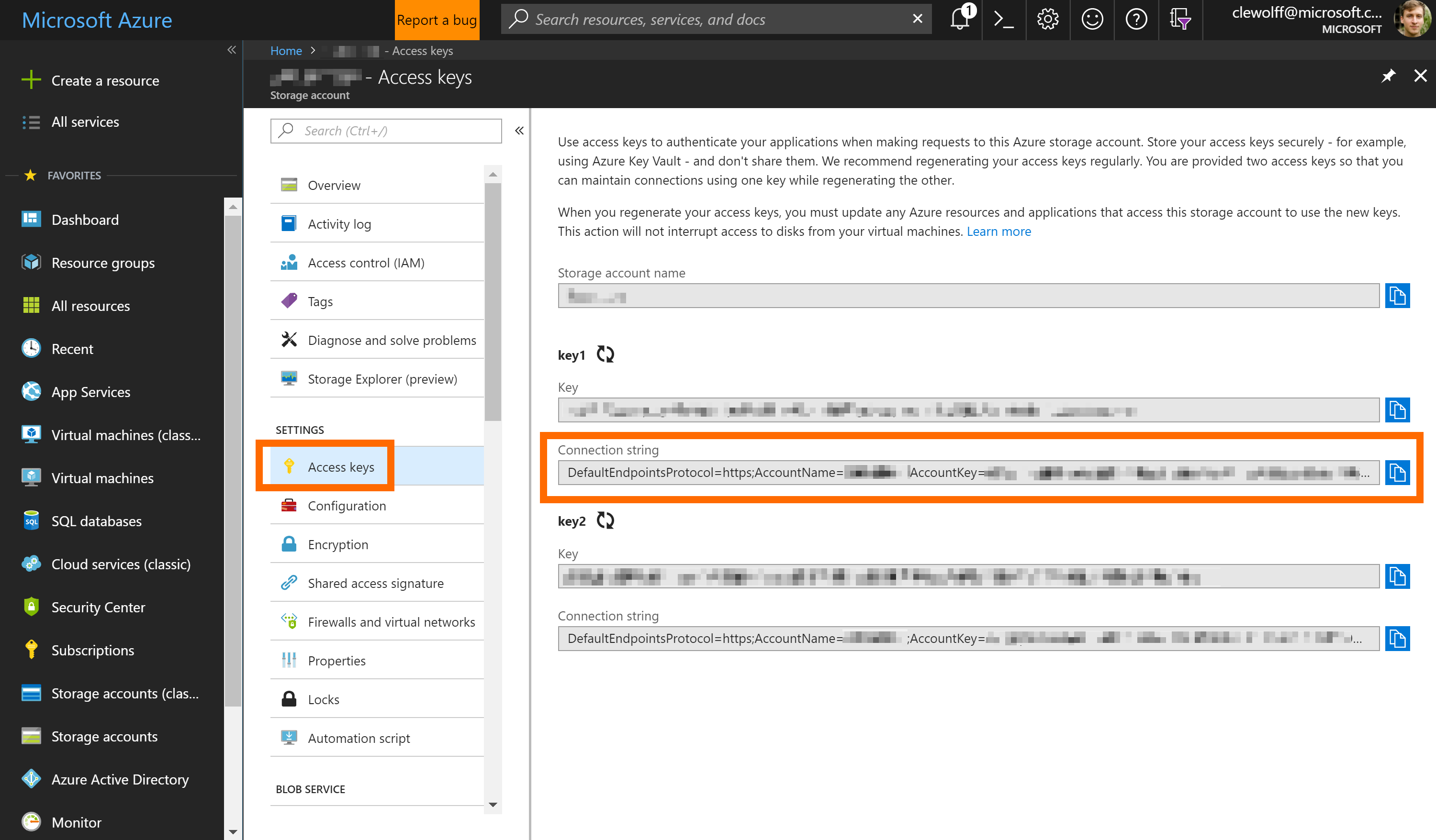 Screenshot showing location of ConnectionString in Azure Portal