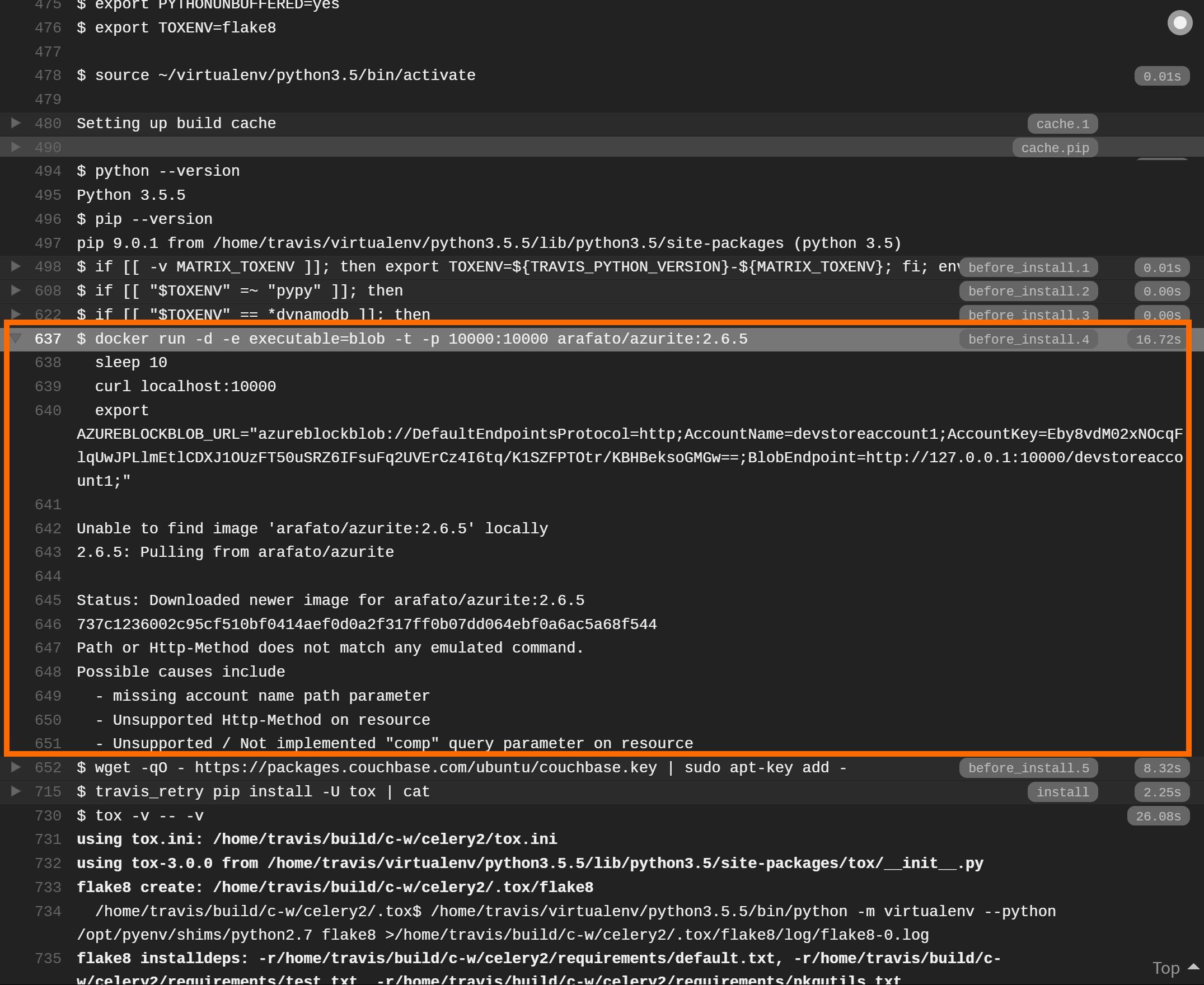 Screenshot showing Azurite starting via Docker on Travis