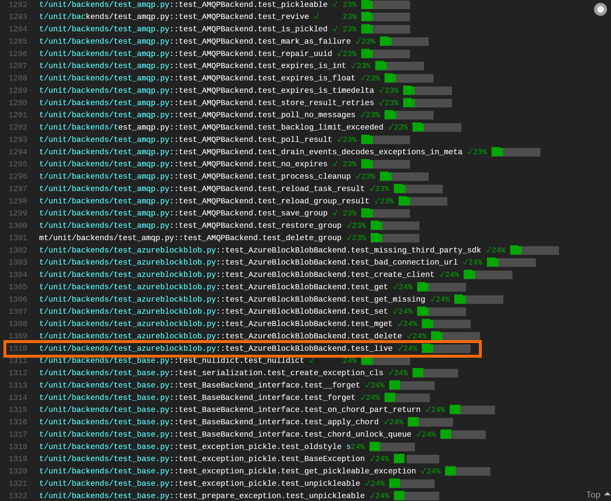 Screenshot showing end-to-end test for Azure Block Blob backend running on Travis