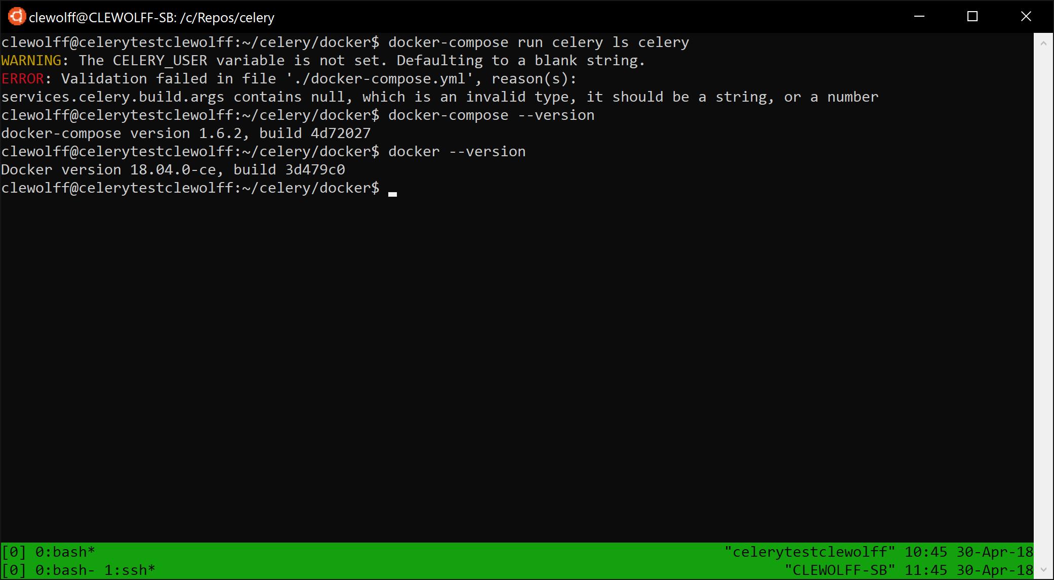 Screenshot of docker-compose error due to missing build argument