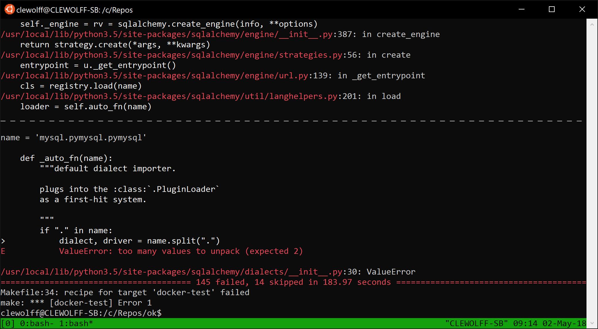 Screenshot of makefile recipe for docker test run failure