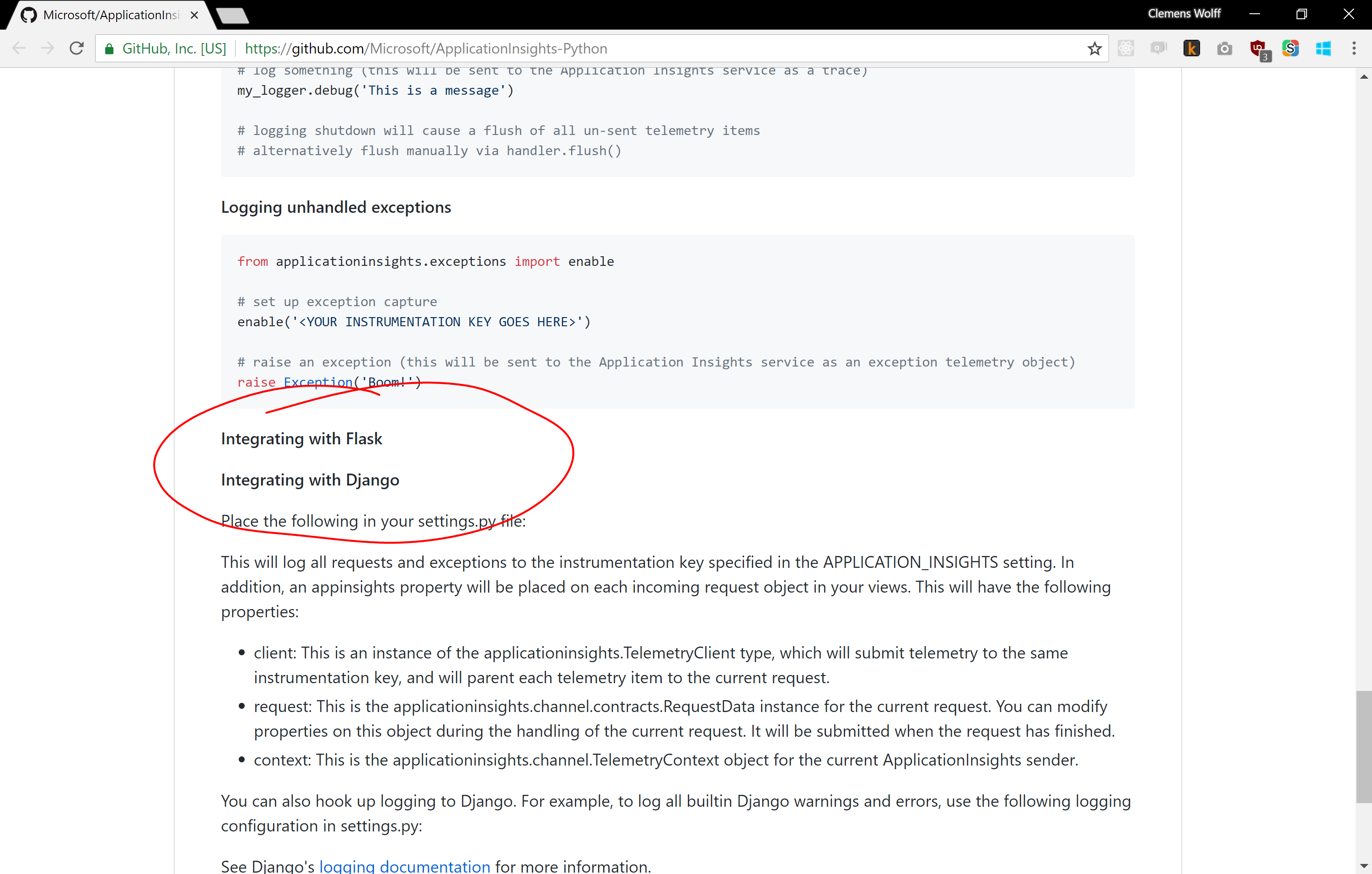Screenshot of README before this pull request