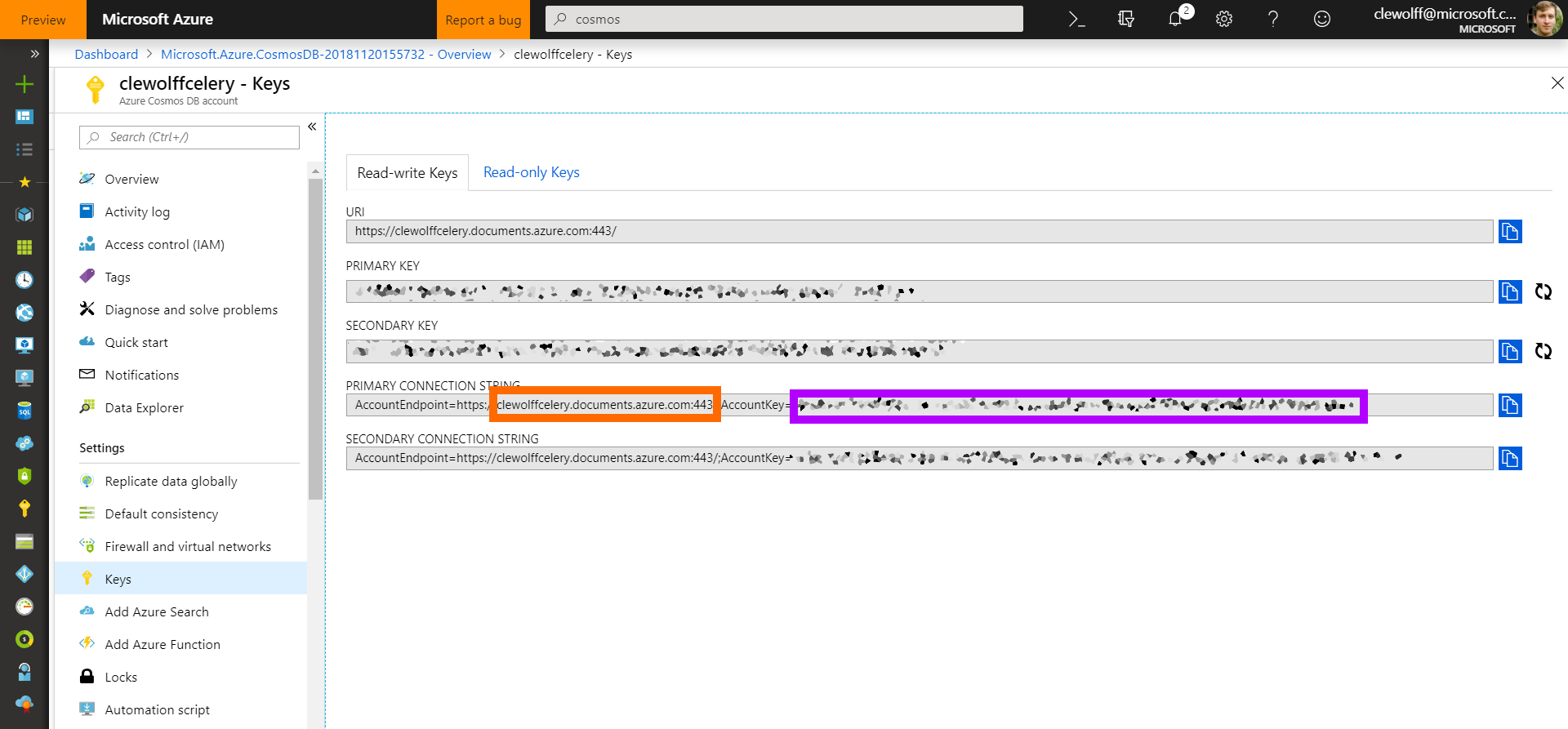 Screenshot of Azure Portal with CosmosDB PrimaryKey (orange) and AccountName (purple)