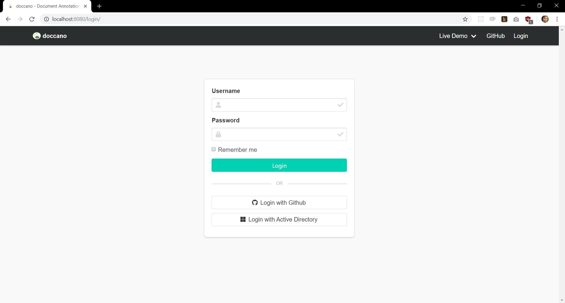 Login page screenshot
