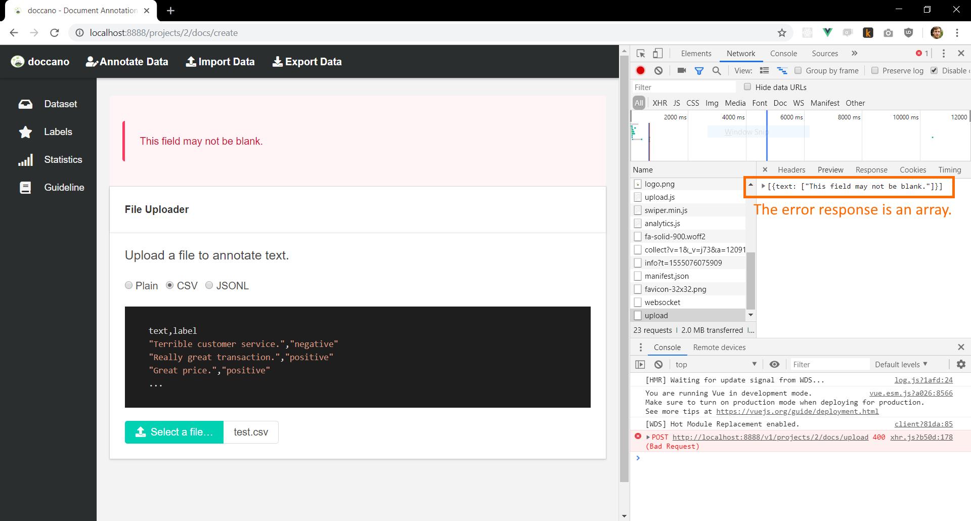 Screenshot showing dataset upload error response