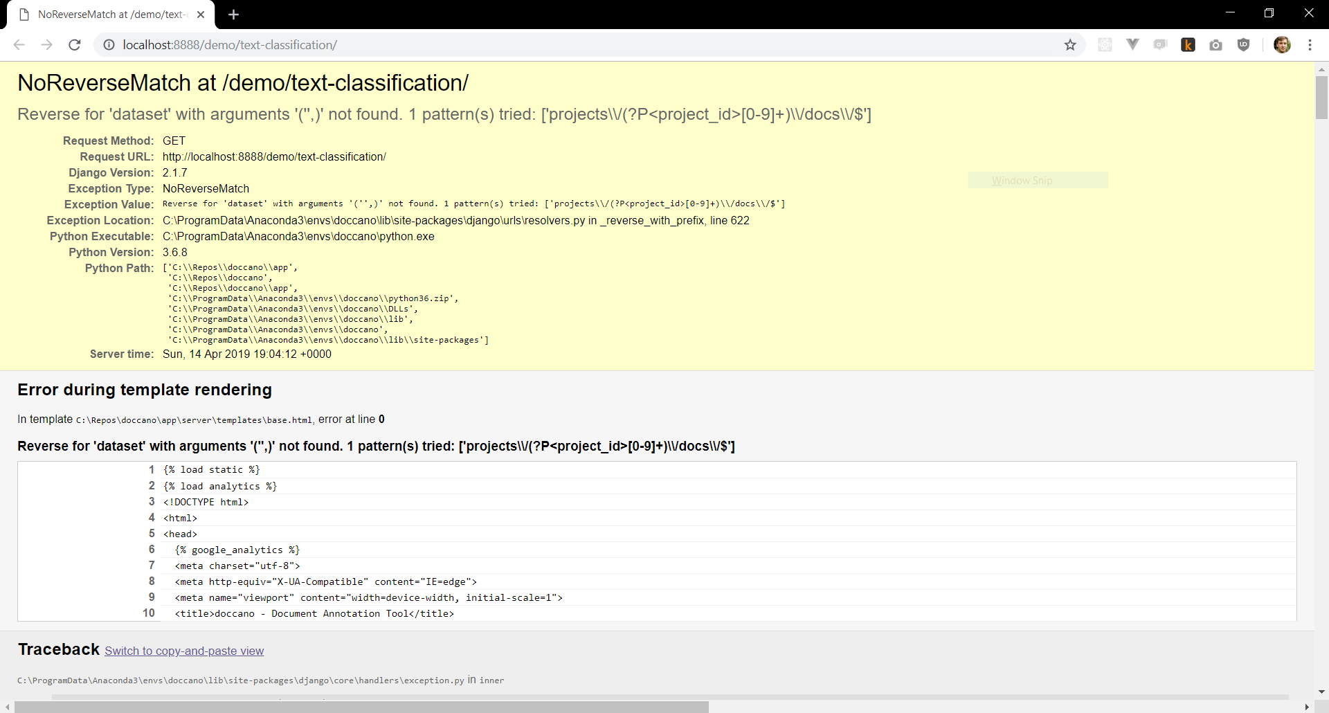 Screenshot showing NoReverseMatch crash