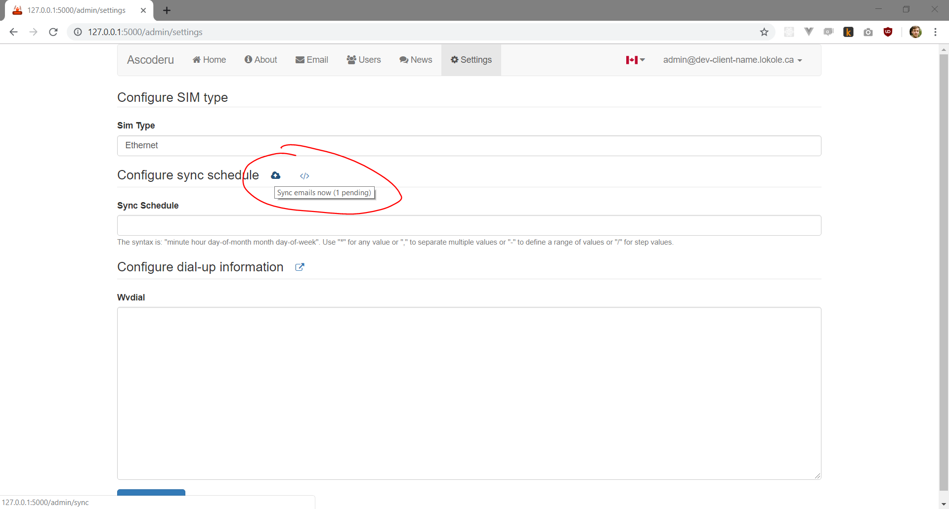 Screenshot showing number of emails to be synced indicator