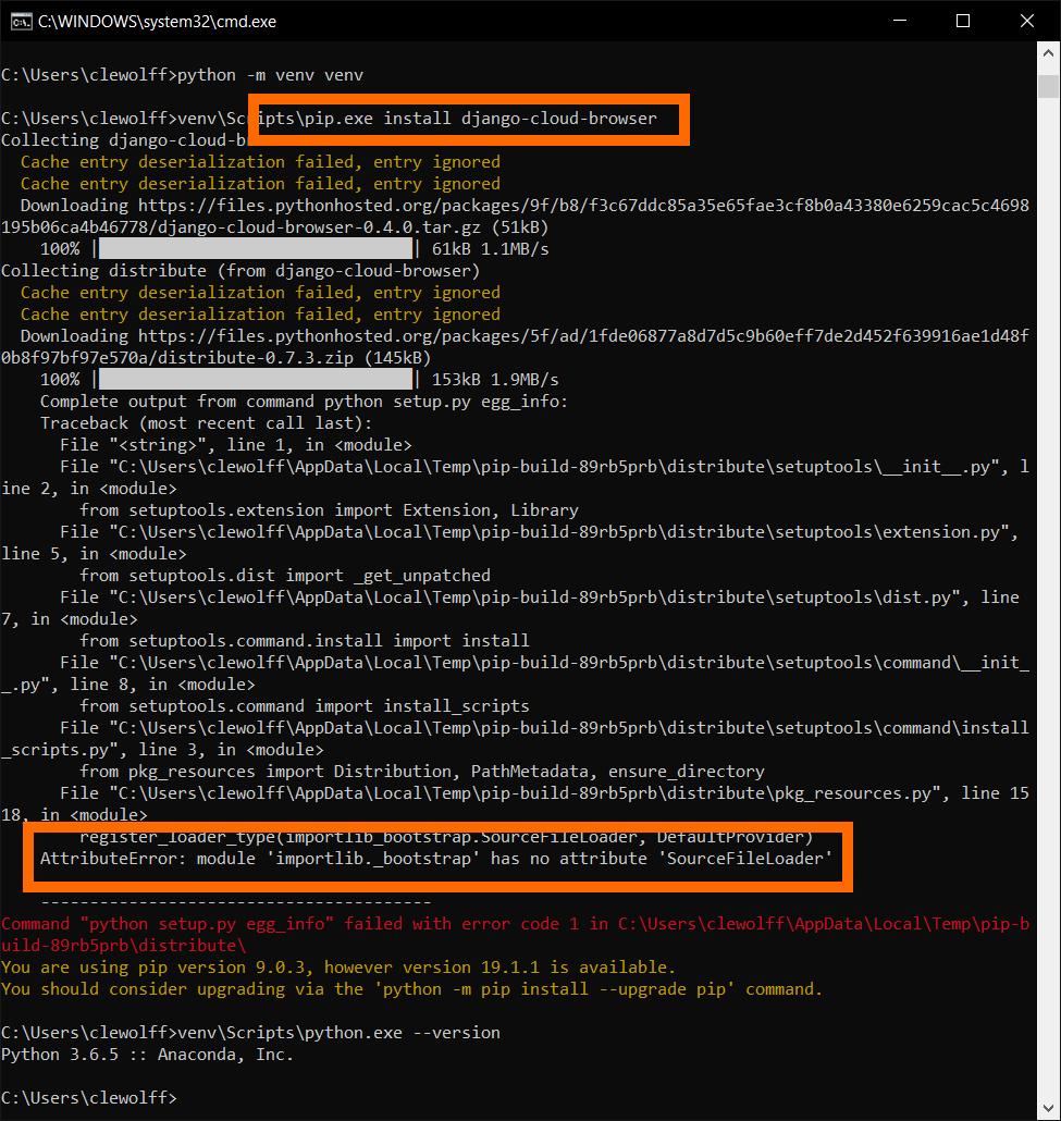 Screenshot showing install failure on Python 3.6