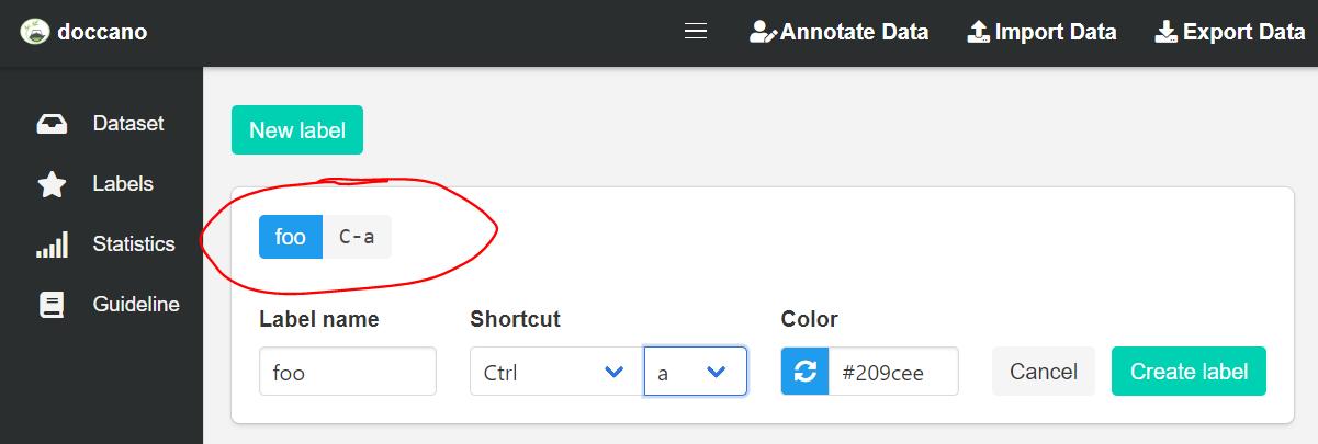 Screenshot showing label shortkey preview fix