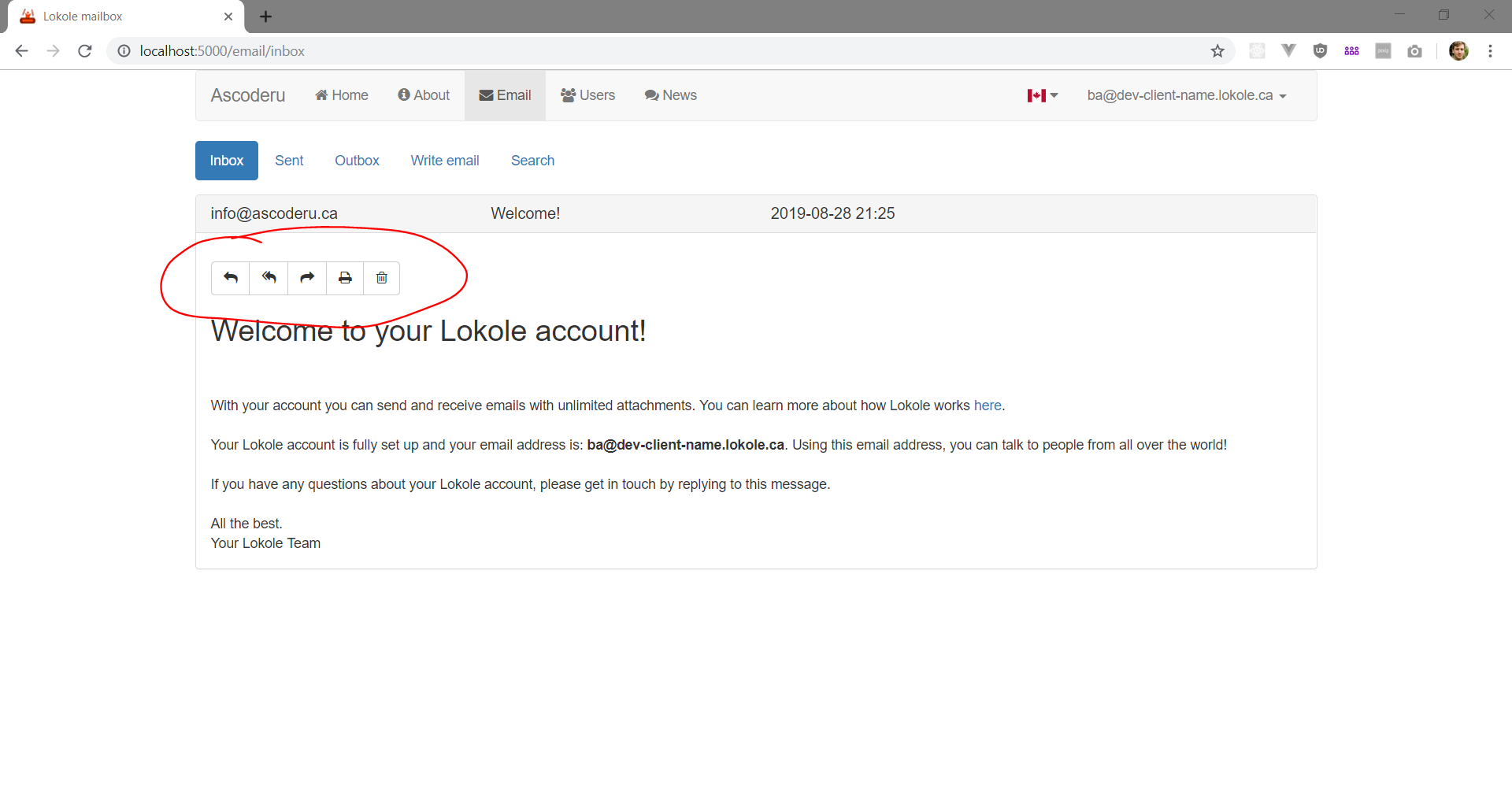 Screenshot showing email actions at the top of the page