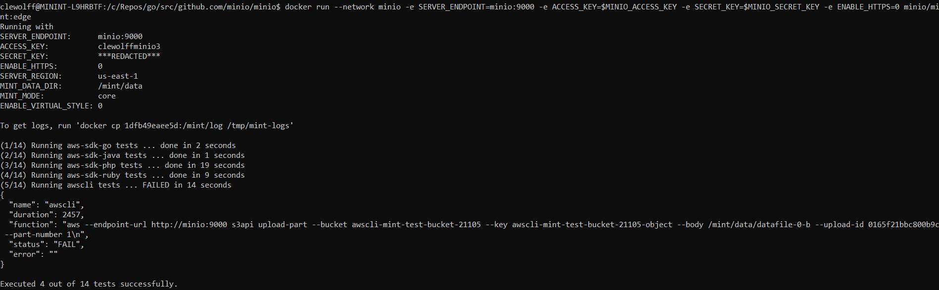 Screenshot showing minio/mint:edge failure with minio/minio:latest