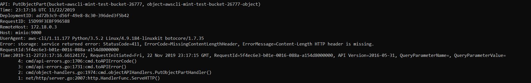 Screenshot showing docker logs for aws-cli test failure