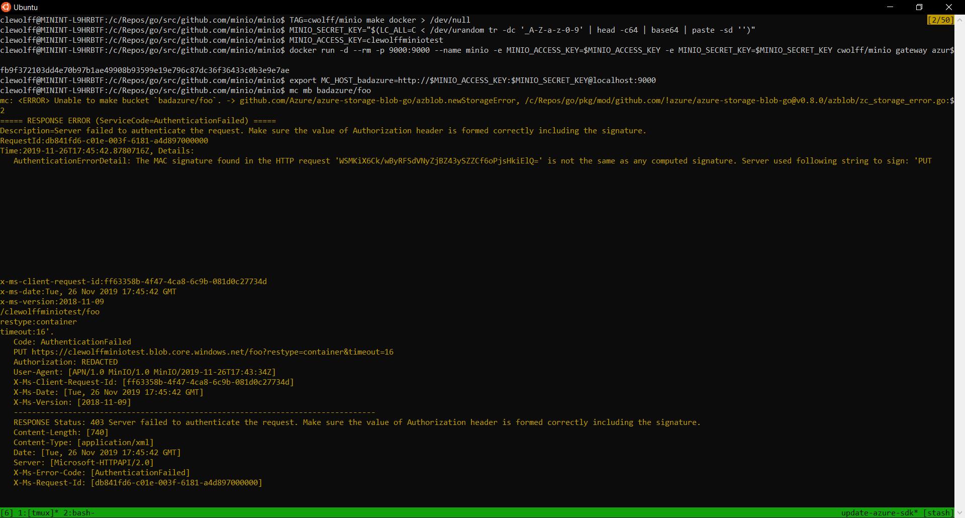 Screenshot showing 403 error with mc client