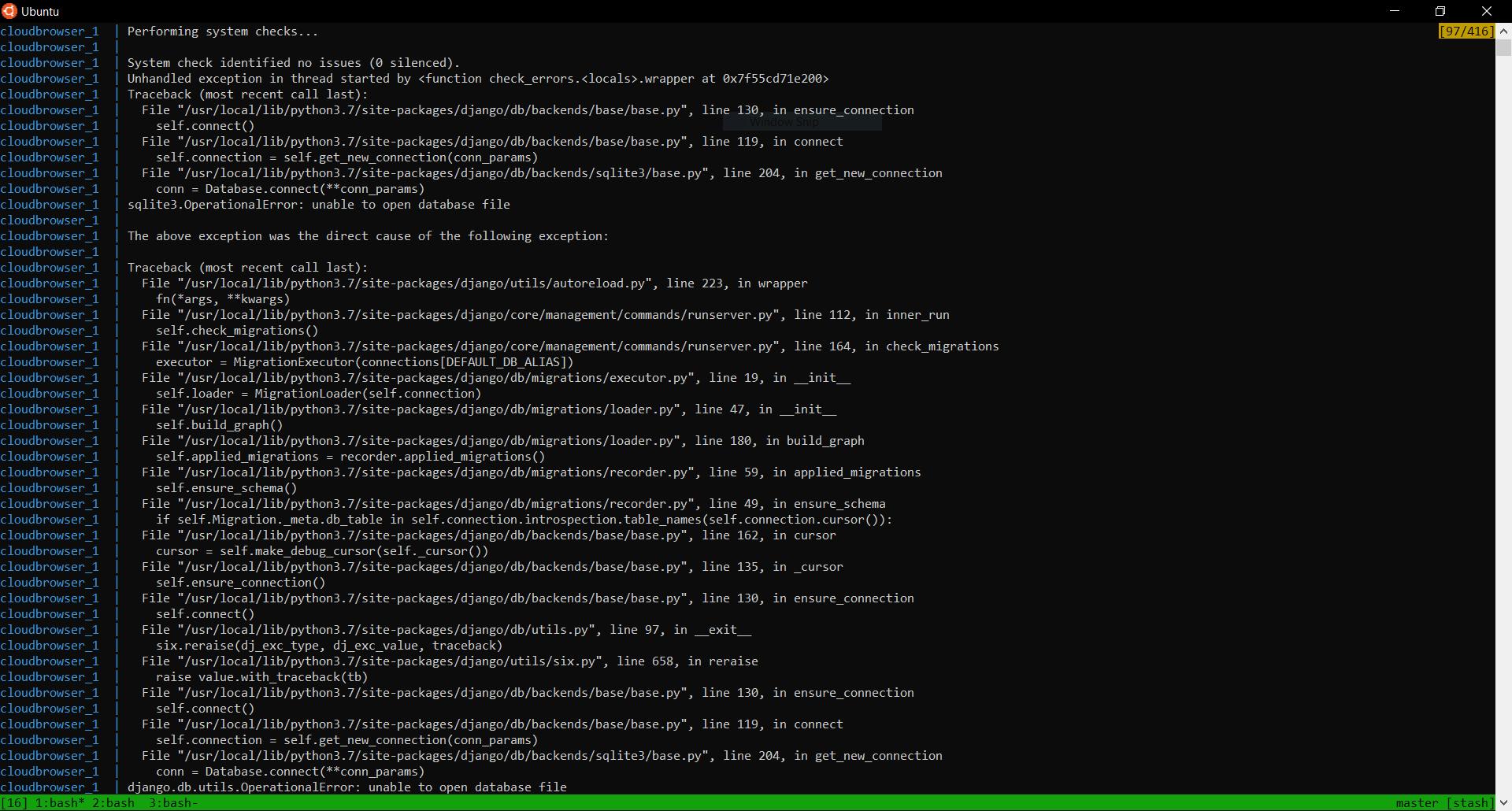 Screenshot showing error on docker start