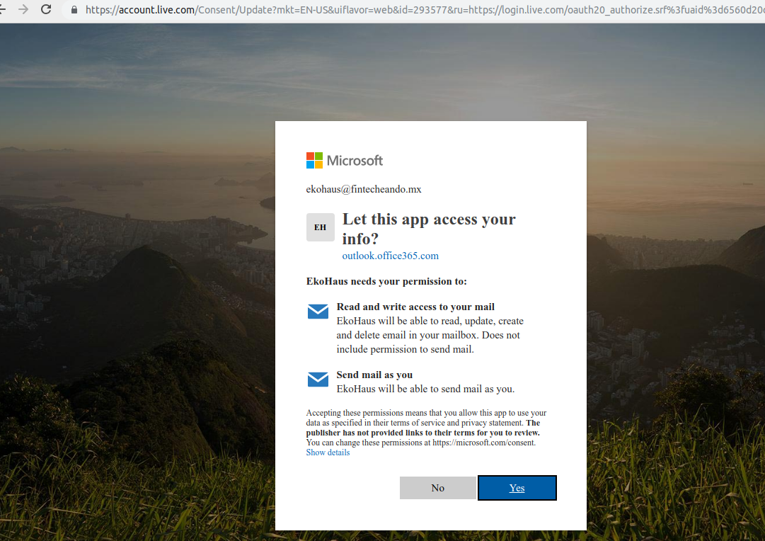 Redirect URL https://outlook office365 com/owa/ is valid