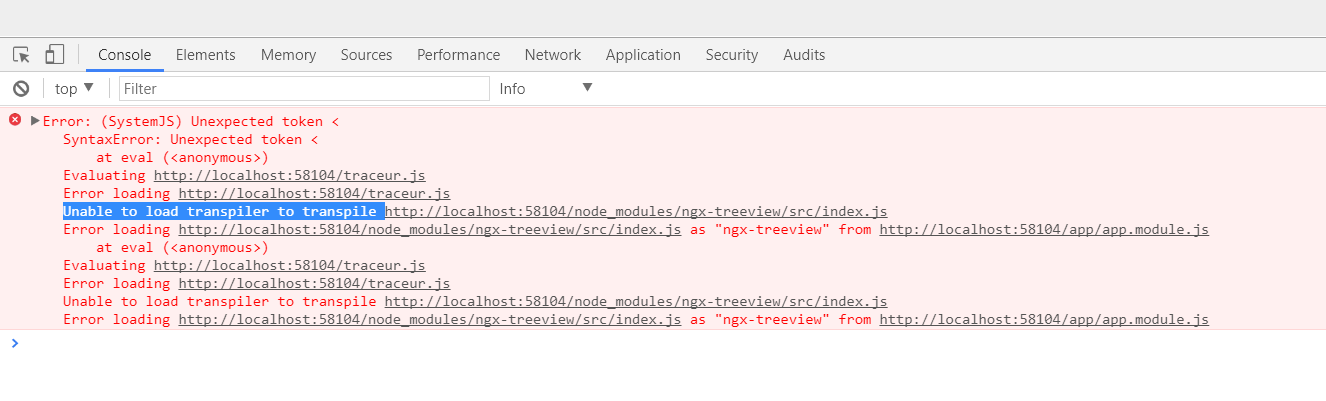 Unable to load transpiler to transpile, SystemJS not loading ...