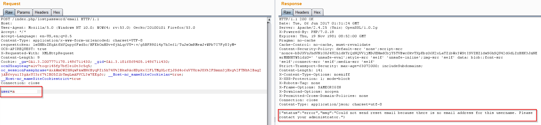 Security vulnerability] User enumeration · Issue #300