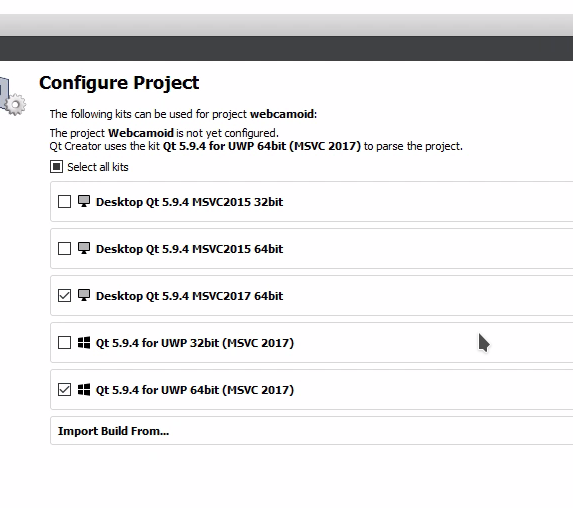windows build configuration / vs version + qt version · Issue #111