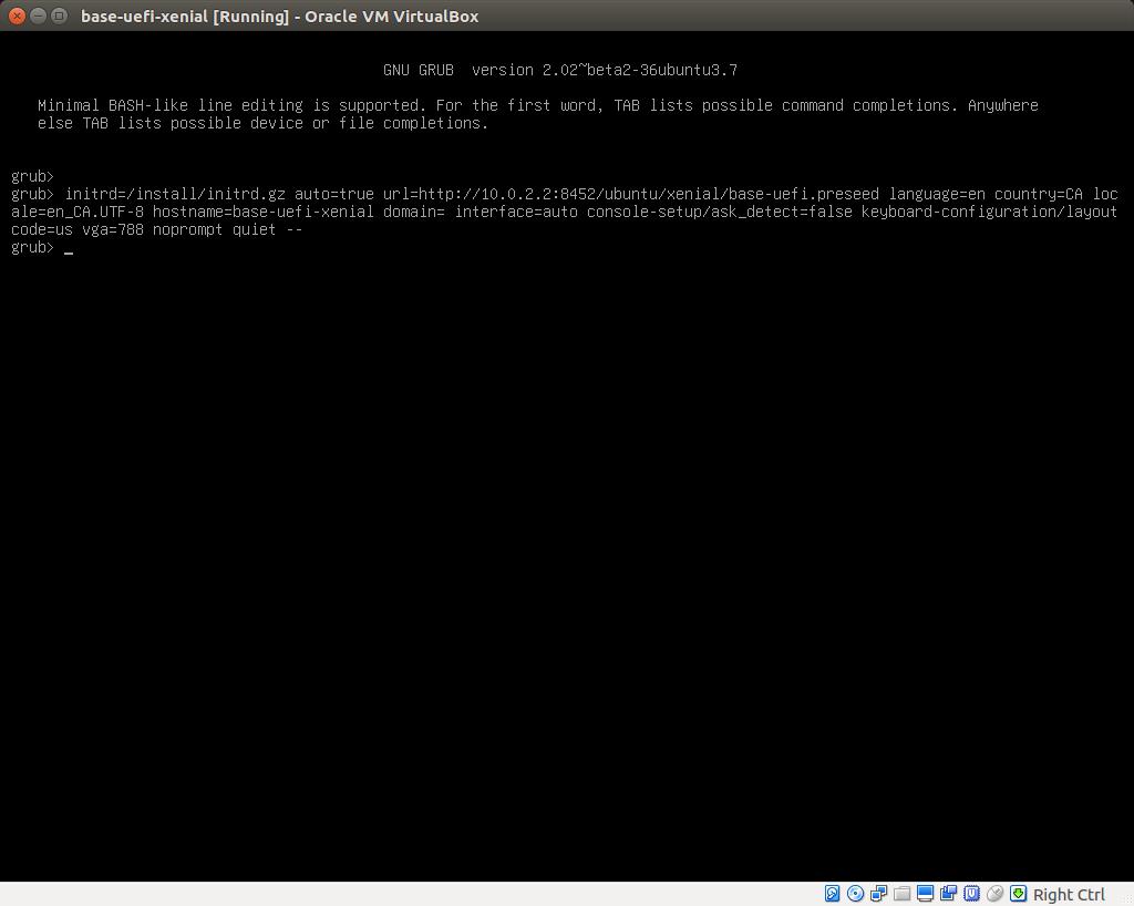 ubuntu/xenial/base-uefi json freezes on GRUB menu · Issue