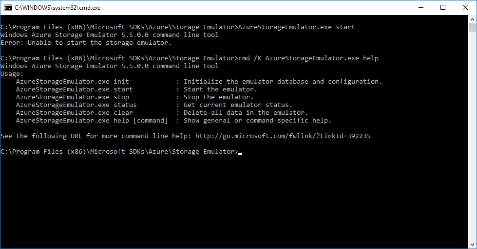 Azure Storage Emulator v5 5 - Unable to start the storage emulator