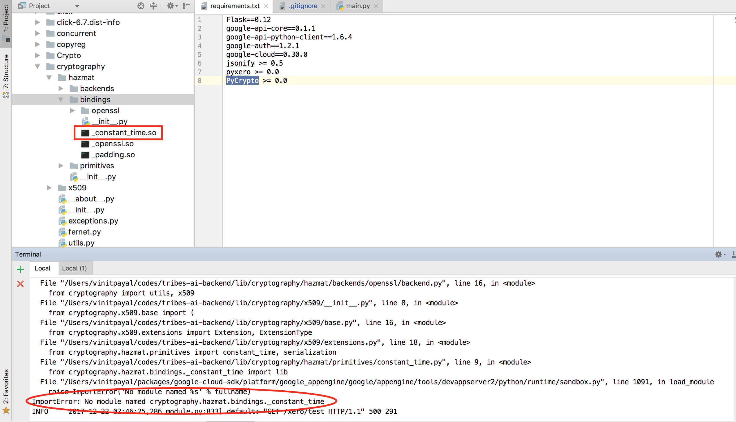 ImportError: No module named cryptography hazmat bindings