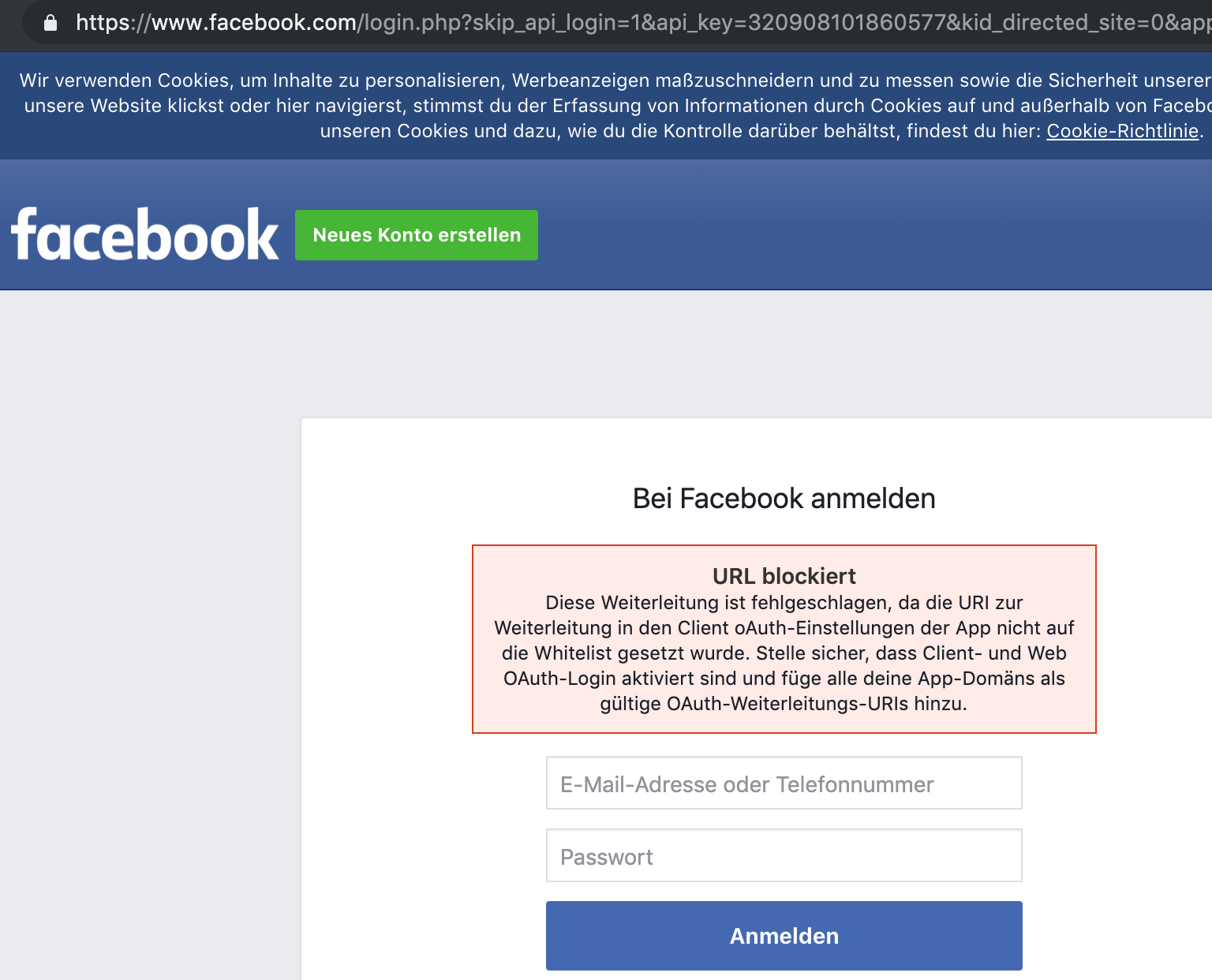 Facebook app anmeldung fehlgeschlagen  💐 Facebook Login nicht