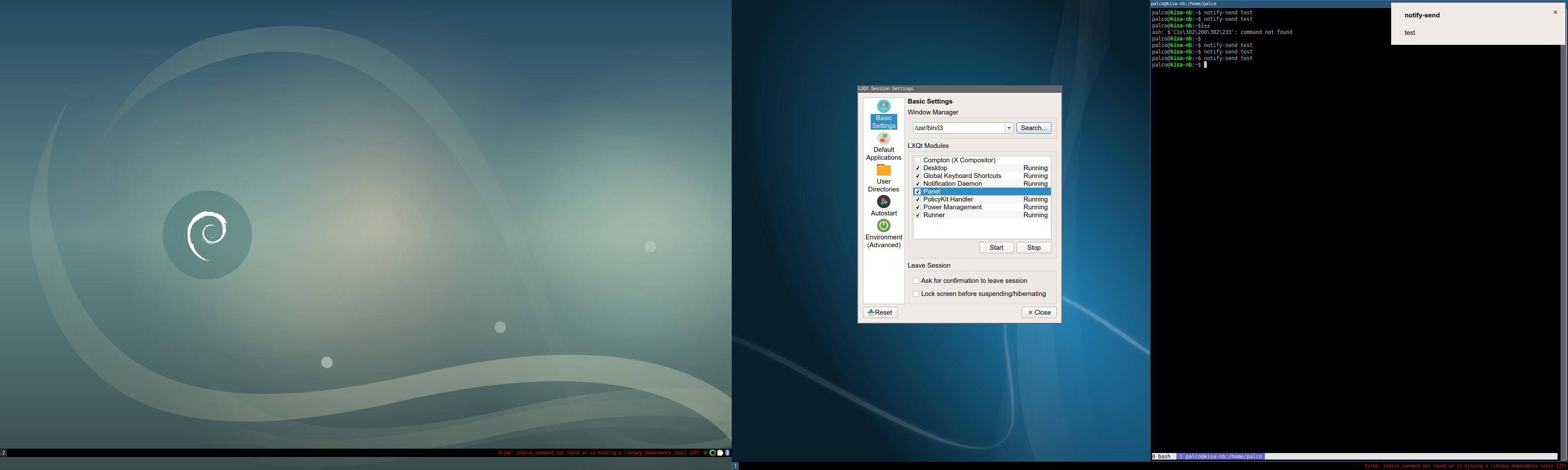 LXQt notificationd: when using i3 as WM the notification is
