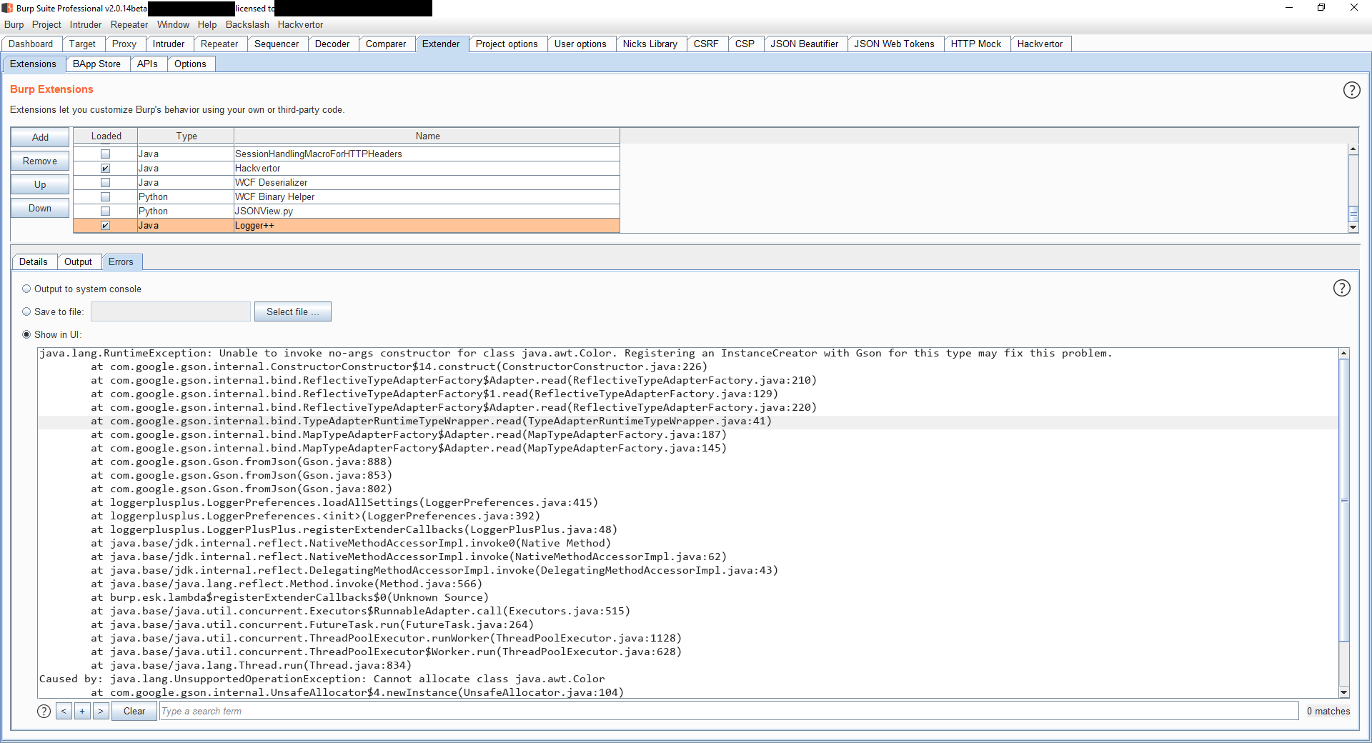 Logger++ Exception Upon Install in Burp Suite 2 0 14beta · Issue #65