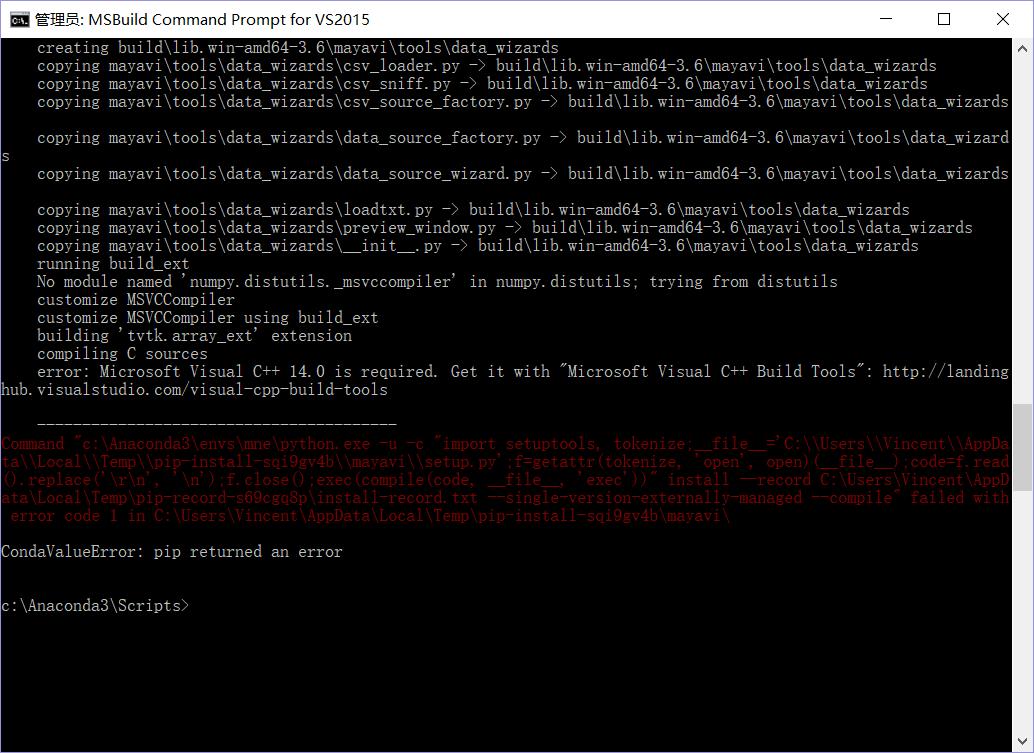 problems installing mne on win10 64bit, py3 6(anaconda