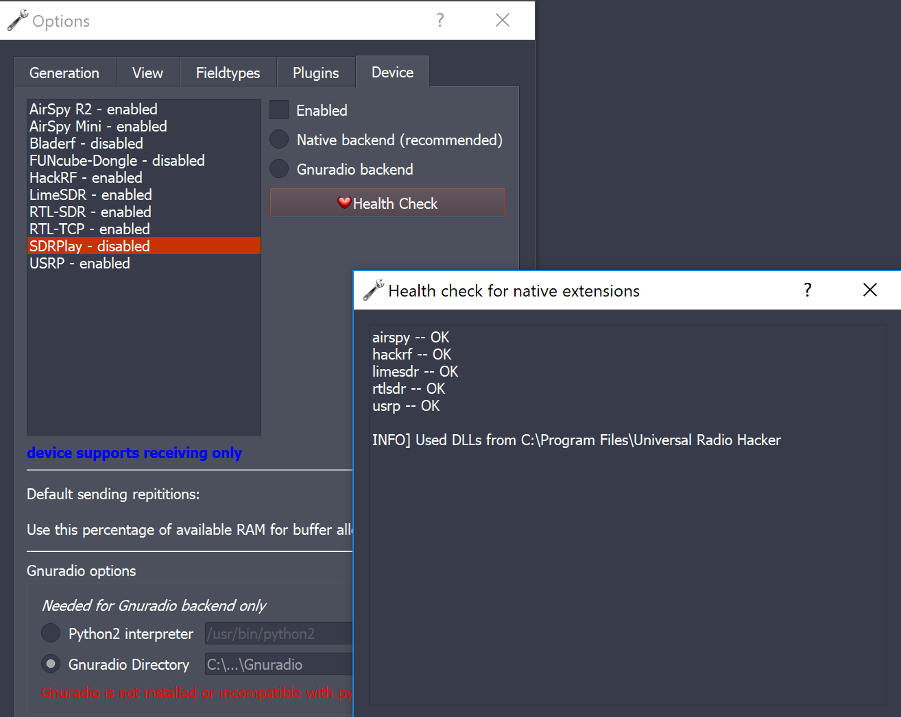 Enable SDRPlay in Windows version · Issue #371 · jopohl/urh